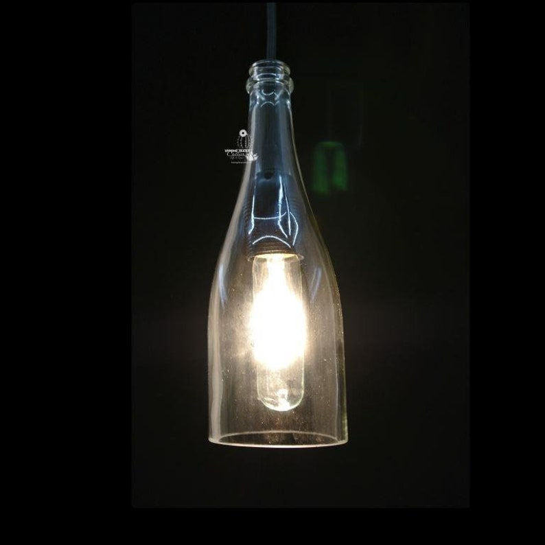 Wine Bottle Pendant Light Shade  Glass Pendant Light Cover  Bottle Light  Industrial Lighting  Wine Gift  Wine Bottle