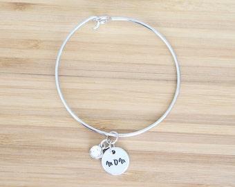 hand stamped charm bracelet | mom and birthstone