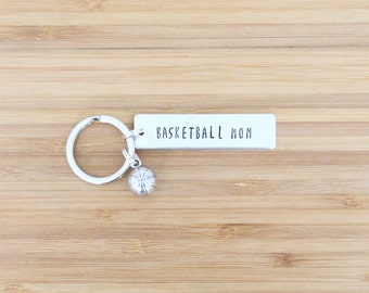 hand stamped keychain | basketball mom