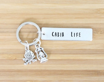 hand stamped keychain | cabin life