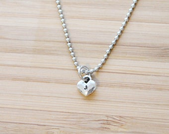 hand stamped necklace | tiny heart initial