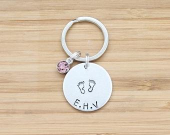 hand stamped keychain | baby initials + birthstone