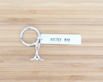 hand stamped keychain | hockey mom