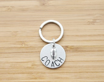 hand stamped keychain | football coach