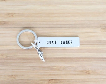 hand stamped keychain | just dance