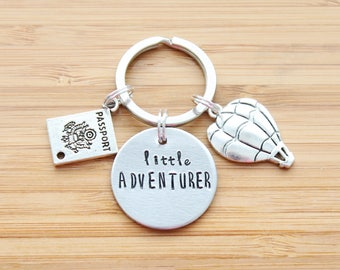 hand stamped keychain | little adventurer