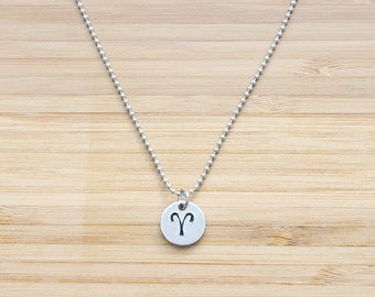 hand stamped charm necklace | zodiac - small