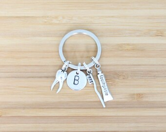 hand stamped keychain | initial + dentist charms