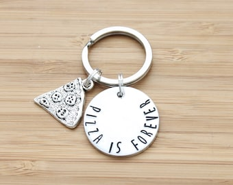 hand stamped keychain | pizza is forever