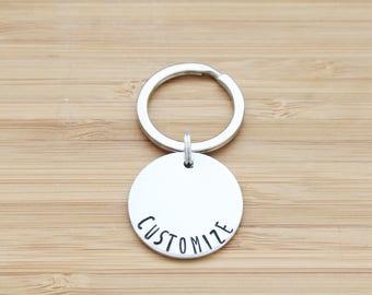 hand stamped keychain | round custom