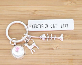 hand stamped keychain | certified cat lady