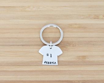 hand stamped keychain | custom jersey