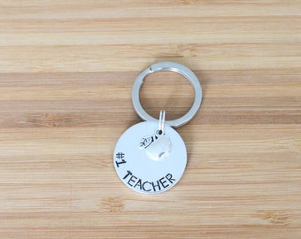 hand stamped keychain | #1 teacher
