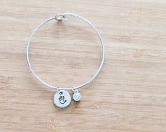 hand stamped charm bracelet | baby + birthstone