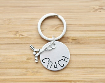 hand stamped keychain | hockey coach