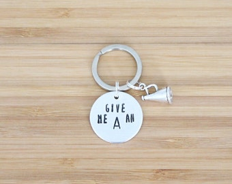 hand stamped keychain | cheerleading custom