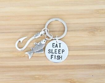 hand stamped keychain | eat sleep fish
