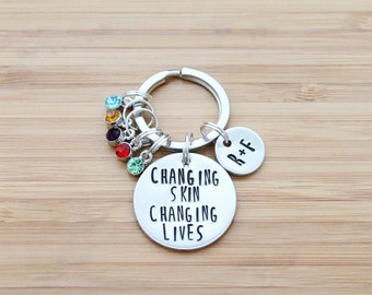 hand stamped rodan and fields keychain | changing skin changing lives