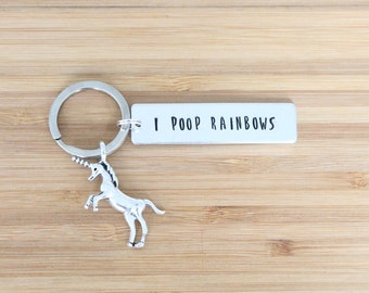 hand stamped keychain | i poop rainbows