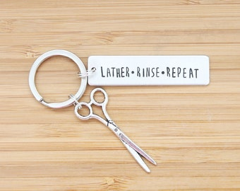 hand stamped keychain | lather rinse repeat
