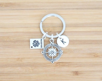 hand stamped keychain | initial + travel charms