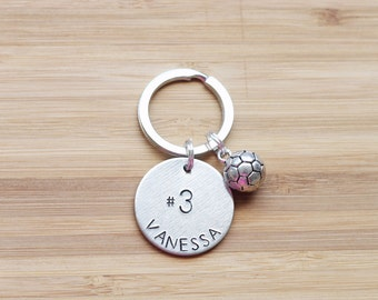 hand stamped keychain | custom sport player - round