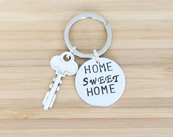 hand stamped keychain | home sweet home