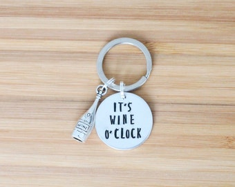 hand stamped keychain | it's wine o'clock