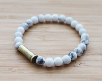 beaded bullet shell bracelet | white howlite
