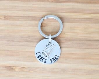 hand stamped keychain | custom coach