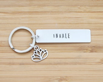 hand stamped keychain   inhale, exhale