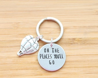 hand stamped keychain | oh the places you'll go