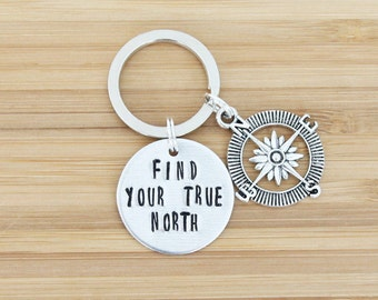 hand stamped keychain | find your true north