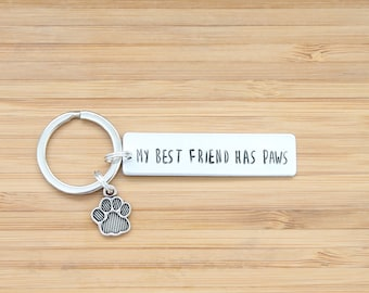 hand stamped keychain | my best friend has paws