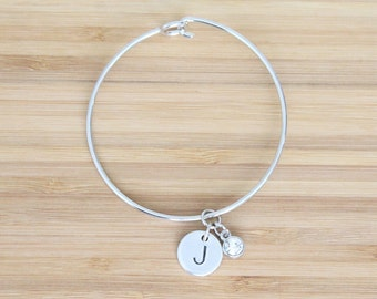 hand stamped charm bracelet | initial and birthstone