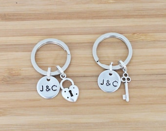 hand stamped keychain | custom initials + charms
