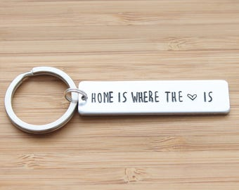 hand stamped keychain | home is where the heart is