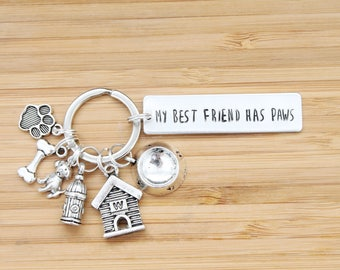 hand stamped keychain | my best friend has paws - dog edition