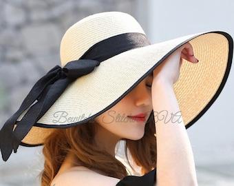36cae26e4c07a4 Personalized Floppy Bride Beach Hat, Bridesmaid Floppy Hat, Beach Hat, Sun  Hat, Wide Brim Hat, Personalized Hat, Bridesmaid Hat, Natural Str
