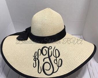 482ffdf587429d Monogrammed Floppy Straw Hat, Bride Floppy Hat, Beach Hat, Sun Hat, Wide  Brim Hat, Personalized Hat, Bridesmaid Hat, Natural Straw Hat