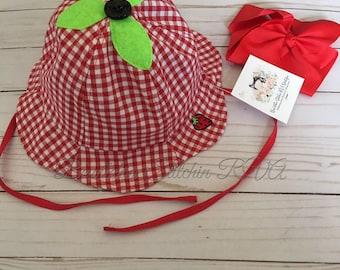 119dddf9 Personalized Strawberry Gingham Bucket Hat, Toddler Red Gingham Bucket Hat, Strawberry  Sun Hat