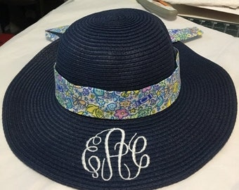 b8001209 SALE Monogrammed Kids Floppy Straw Hat, Girls Navy Straw Hat, Beach Hat,  Ivory, Pink, Hot Pink, Lavender, Aqua, Navy, Coral