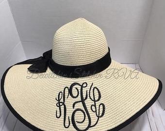 aefa4383 SALE Monogrammed Floppy Straw Hat, Bride Floppy Hat, Beach Hat, Sun Hat,  Wide Brim Hat, Personalized Hat, Bridesmaid Hat, Natural Straw Hat