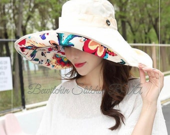 25a4e258a6a223 Personalized Cream Beach Hat, Convertible Sunhat, Reversible Sun Hat, UV  Sunhat, Wide Brim Sunhat, Bucket Hat, Two Hats in One
