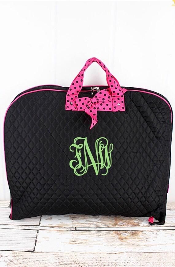 Personalized Black Quilted Garment Bag, Bridesmaid Weekend Bag, Bridal Gift Bag, Travel Garment Bag