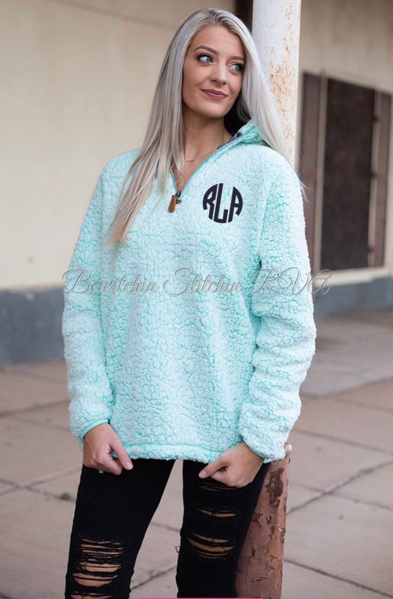 Personalized Ladies Frosted Teal Sherpa Pullover, Women's Quarter ZIP Aqua Sherpa Pullover, Monogrammed Frosted Teal Sherpa Pullover