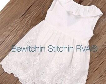 Monogrammed White Eyelet Dress, White Dress, Beach Dress, Flower Girl Dress, Toddlers, Girls, 3/4 Privacy Lining