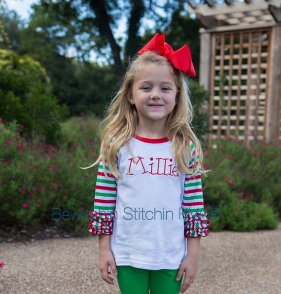 Ruffled Icing Sleeve Raglan, Christmas Raglan Top, Girls Icing Sleeve Top, white, red, green, striped sleeve shirt, personalized