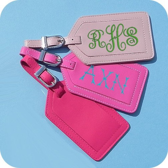 Monogrammed Leather Luggage Tag, Personalized Leather Luggage Tag, Bridesmaid Gift, Groomsman Gift, Coworker Gift, Boss Gift.