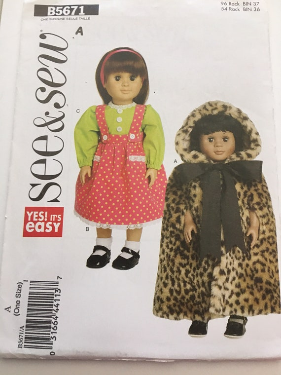 "see & sew B5671, Doll Jumper, Cape, and Blouse Sewing Pattern, Fits 18"" Dolls, New, Uncut, FF"